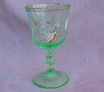 Victorian Hand Painted Enamel Wine Glass Green