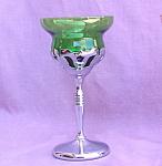 50's Elegant Chrome Cocktail Green Glass Insert