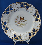 Antique German Plate Reticulated Rim Floral Butterfly