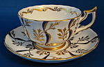 Cup And Saucer Royal Chelsea Gold Cobalt Blue Fancy