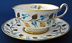 Cup And Saucer Royal Chelsea Aqua Enamel Gold Leaves