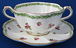 George Jones Crescent Cream Soup And Saucer Rosebuds