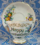 Queen Anne Cup And Saucer Happy Anniversary Floral Bouquets