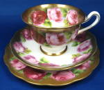 Royal Albert Old English Rose Teacup Trio Wide Gold 1930s