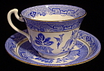 Royal Grafton Cup And Saucer Blue Willow Gold Trim