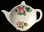 Teapot Shape Tea Bag Caddy Roses Royal Patrician