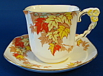 Square Cup And Saucer 3 Flower Handle Royal Stafford