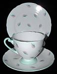 Shelley Cup Saucer Plate Ripon Harmony Green Pink England Teacup Trio