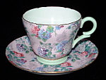 Shelley Chintz Cup And Saucer Summer Glory England Pink