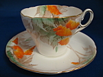 Shelley Art Deco Wisteria Old Cambridge Cup And Saucer