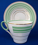 Shelley Cup And Saucer Oxford Art Deco Green Gold Bands