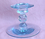 Vintage Cambridge Blue Decagon Candle Stick