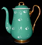 Shelley China Coffee Pot Floral Stencil Dots Green