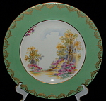 Shelley Englands Charm Dinner Plate Green Gold Overlay