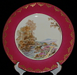 Shelley Heather Dinner Plate Magenta Gold Overlay