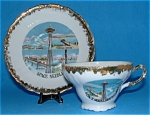 Vintage Cup And Saucer Seattle Space Needle Souvenir