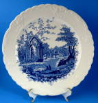 Plate English Abbey Blue Transferware T S And T Luncheon