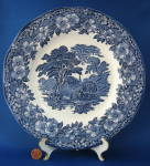 Wedgwood Blue Transfer Woodland Dinner Plate Vintage