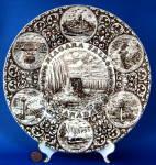 Niagra Falls Canada Brown Transferware Souvenir Plate Wood 1940s