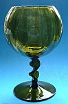 Avocado Art Glass Compote Barley Twist Stem Retro