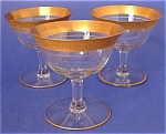 Crystal Sherbet Glasses Embossed 24kt Set 3 Champagne
