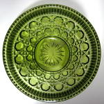 Vintage Avocado Green Pressed Glass Windsor Fruit Bowl