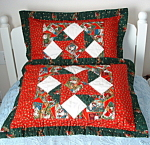 Pillow Sham Pair Chistmas Patchwork Hand Quilted