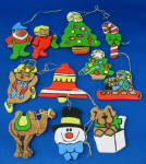 Ornaments Set Of 11 Hand Painted Wood Tree Bell Elf