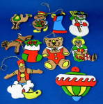 Ornaments Set Of 10 Hand Painted Wood Bear Doll Genie
