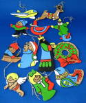 Ornaments Set Of 12 Hand Painted Wood King Clown Wreath