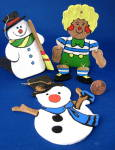 Ornaments Hand Painted Wood 2 Snowmen And Raggedy Andy