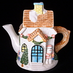 Christmas Teapot Ceramic Church Snow Covered Holiday