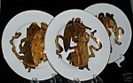 Christmas Angel Plates Luxe Gold Set Of 3 Different