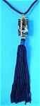 Necklace Cloisonne Enamel Cylinder Blue Silk Cord Flora