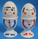 Mr And Mrs Eggcups With Salt And Pepper Heads Ceramic