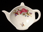 Teapot Shape Tea Bag Caddy Floral Bouquet England
