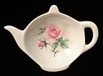 Teapot Shape Tea Bag Caddy Pale Pink Roses England