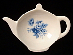 Teapot Shape Tea Bag Caddy Blue Flowers England