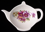 Teapot Shape Tea Bag Caddy Pansy England Bone China