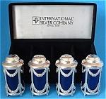 Salt And Pepper 2 Sets Boxes Silver Plate Cobalt Blue