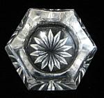English Clear Glass Open Salt Dip Paneled Star Bottom