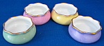 Four Open Salts English Colors Pink Green Yellow Lavend