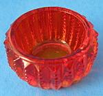 Amberina Glass Salt Dip Imperial Glass Zipper Open Salt