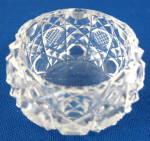 Antique English Cut Crystal Salt Waffle Button Diamond