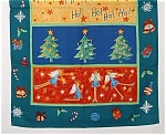 Christmas Tea Towel England Angels Trees Retro