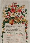 Vintage Tea Towel Calendar Kitchen Prayer Flowers Fruit
