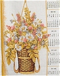 Vintage Tea Towel Calendar 1985 Hanging Basket