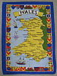 Tea Towel Map Of Wales Coat Of Arms England Vintage