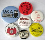 Lapel Badges Lot Of 7 Pinback Buttons England 1930-1950