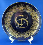 Plate Royal Wedding Charles And Diana Blue Gold Wreath
